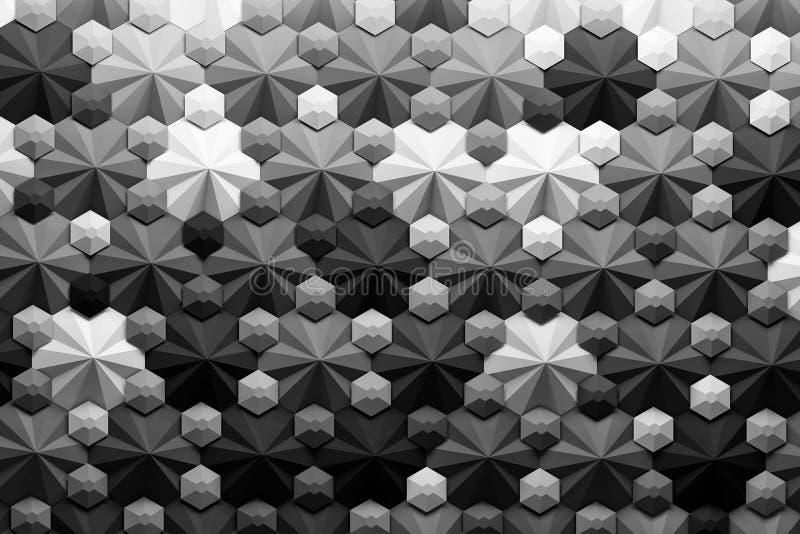 Einfarbiges geometrisches Muster 3d mit komplexen Formen lizenzfreie abbildung