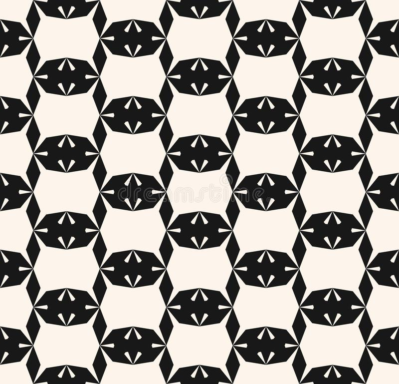 Einfarbiges geometrisches nahtloses Muster der Vektorzusammenfassung mit nervösen Formen, Gitter lizenzfreie abbildung