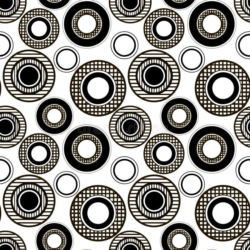Einfarbiges Muster der karierten und gestreiften Kreise lizenzfreie abbildung