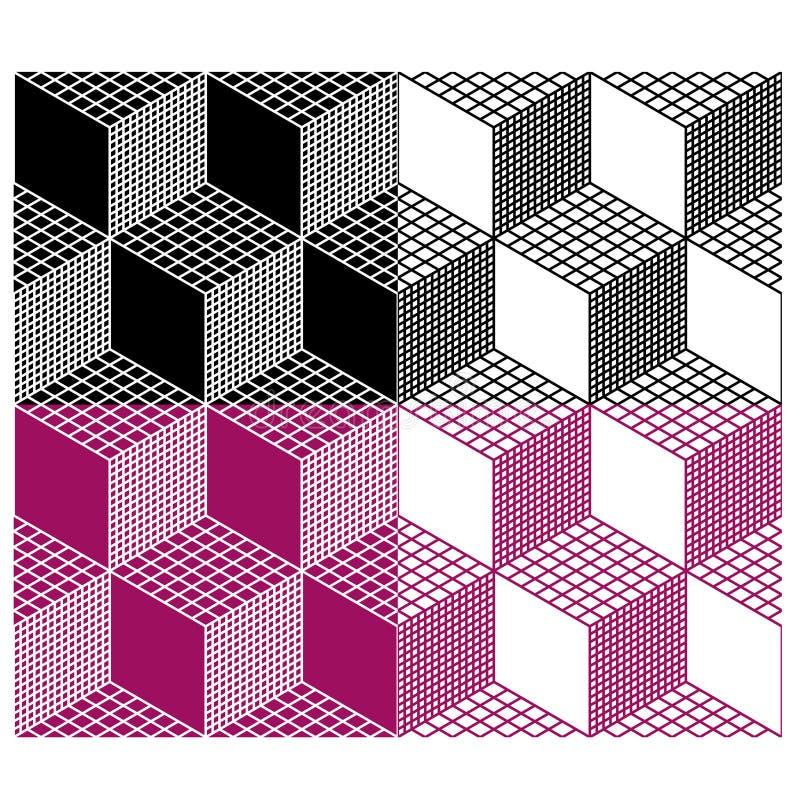 Einfarbiges nahtloses Muster des Würfels 3d vektor abbildung