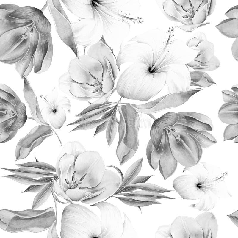 Einfarbiges nahtloses Muster mit Blumen Tulpe hibiscus Dekoratives Bild einer Flugwesenschwalbe ein Blatt Papier in seinem Schnab vektor abbildung