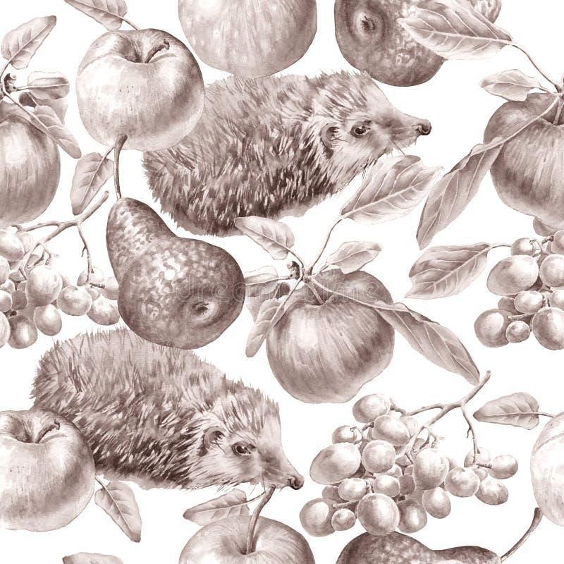 Einfarbiges nahtloses Muster mit Früchten und Igelem Apple, Trauben und Birne Dekoratives Bild einer Flugwesenschwalbe ein Blatt  vektor abbildung