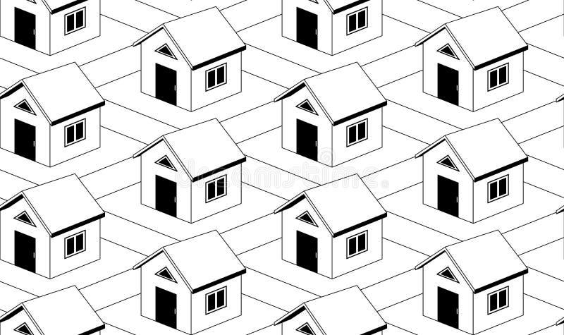 Einfarbiges nahtloses Muster mit Häusern stock abbildung