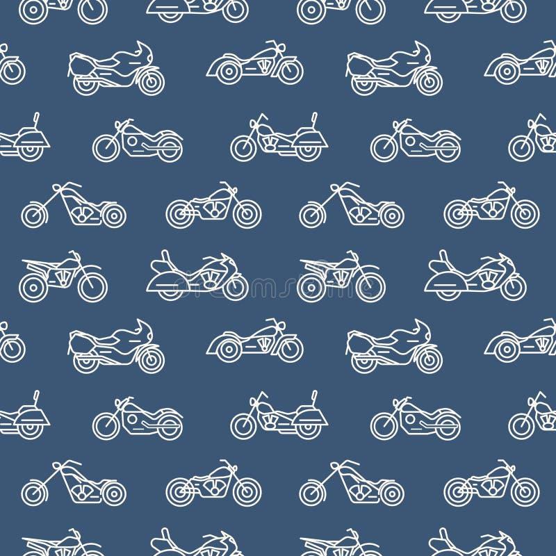 Einfarbiges nahtloses Muster mit Motorrädern von den verschiedenen Modellen gezeichnet mit weißen Entwürfen auf blauem Hintergrun lizenzfreie abbildung