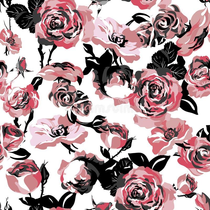 Einfarbiges nahtloses Muster mit Weinlese-Rosen stock abbildung