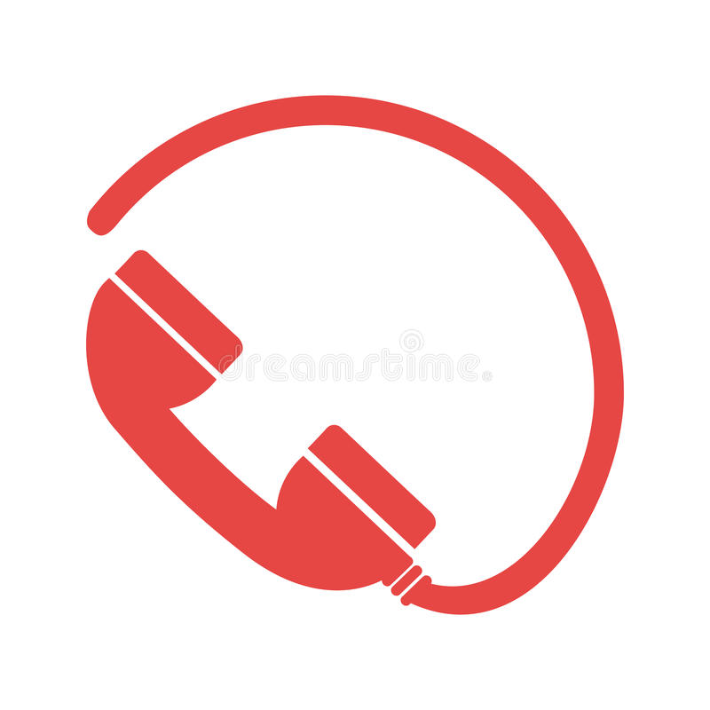 Einfarbiges Schattenbild mit Telefon und Kabel lizenzfreie abbildung