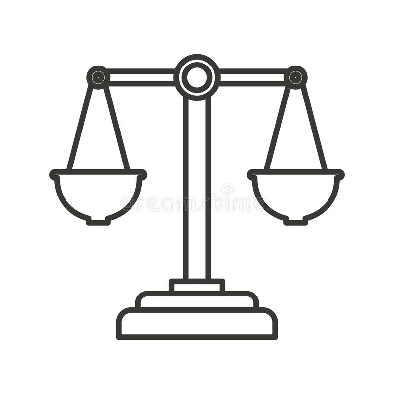Einfarbiges Schattenbild von Gerechtigkeitsskalen stock abbildung