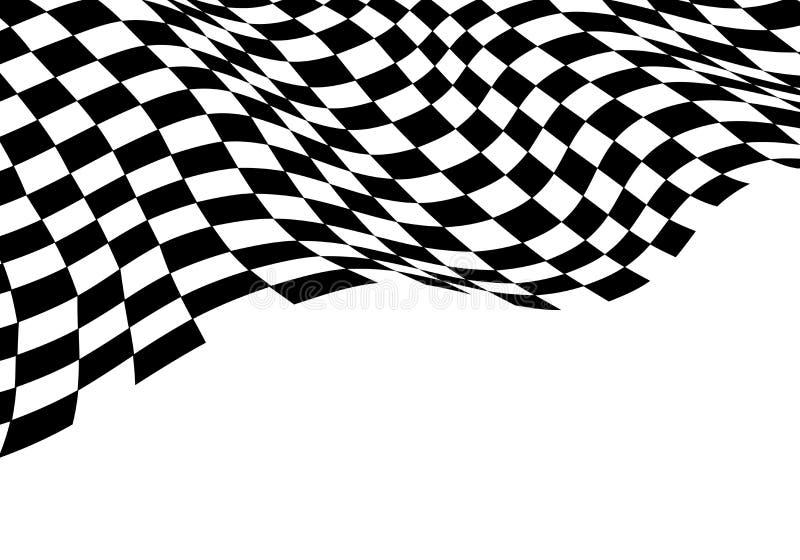 Einfarbiges schwarzes Weiß der Zielflaggewelle für Sportrennmeisterschaft und Geschäftserfolg beenden Hintergrundvektor stock abbildung