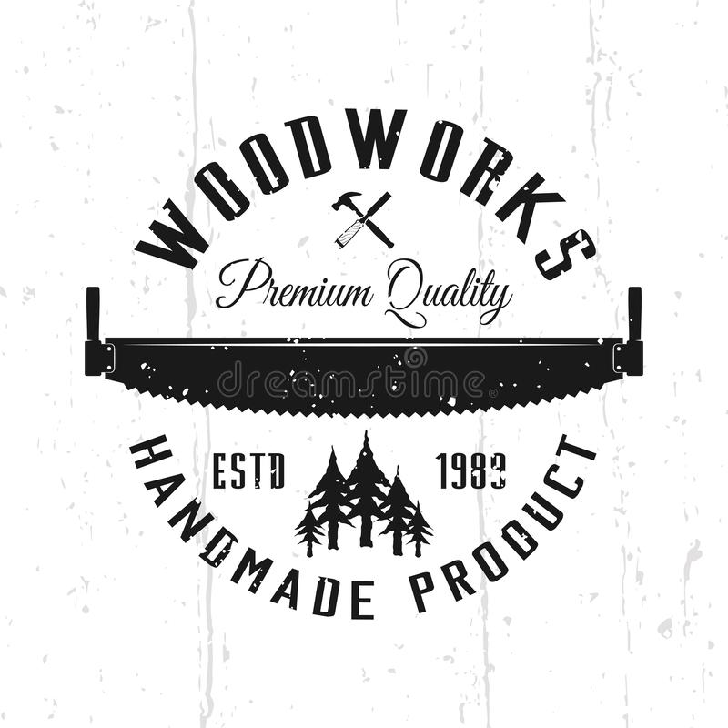 Einfarbiges Vektoremblem der Holzarbeiten, Ausweis, Aufkleber stock abbildung