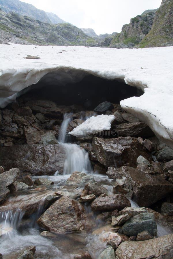 Einfrierendes Wasser und wärmt Eis stockbild