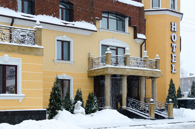 Eingang Auslese zum beachtlichen Park-Hotel Zamkovyj, Gomel, Belaru stockbilder