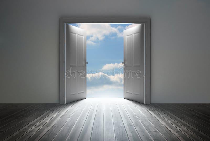 Eingang, der hellen blauen Himmel aufdeckt vektor abbildung