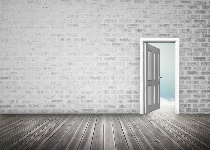 Eingang, der zum blauen Himmel im grauen Backsteinmauerraum sich öffnet stock abbildung