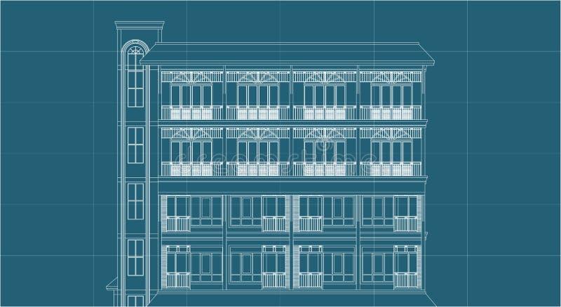 Eingang des Architekturzeichnungsaufzug-hohen Gebäudes lizenzfreie abbildung