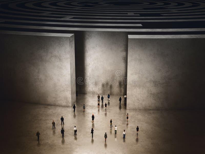 Eingang des schwierigen Labyrinths Wiedergabe 3d lizenzfreie abbildung