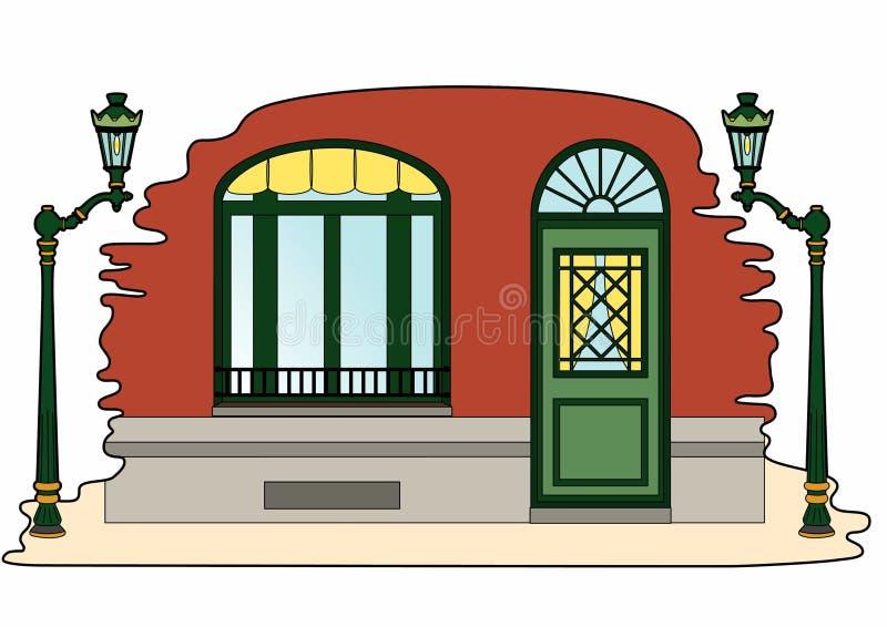 Eingang eines Hauses und der Laternenpfähle lizenzfreie abbildung