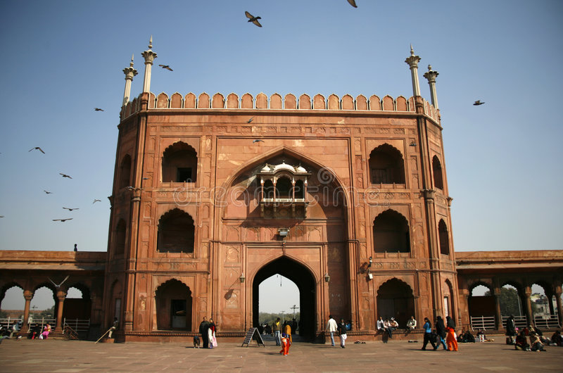Eingang Jama-Masjid, Delhi lizenzfreie stockfotos