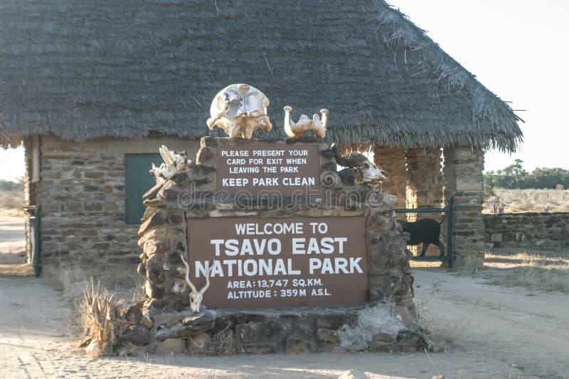 Eingang Ostnationalparks Tsavo lizenzfreie stockbilder