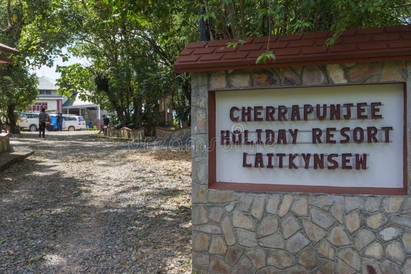 Eingang von Cherrapunjee-Ferienzentrum nahe Sohra, Meghalaya, Indien lizenzfreies stockfoto