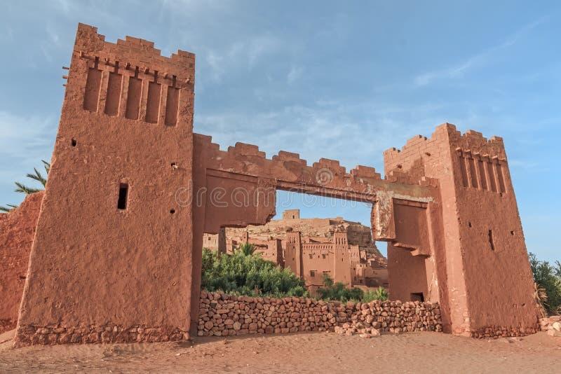 Eingang von ksar Ait Benhaddou, Ouarzazate marokko lizenzfreies stockbild