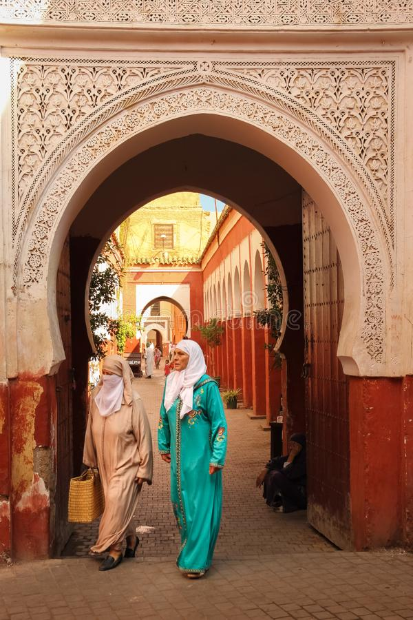 eingang Zaouia-sidi Bel Abbes marrakesch marokko lizenzfreies stockfoto
