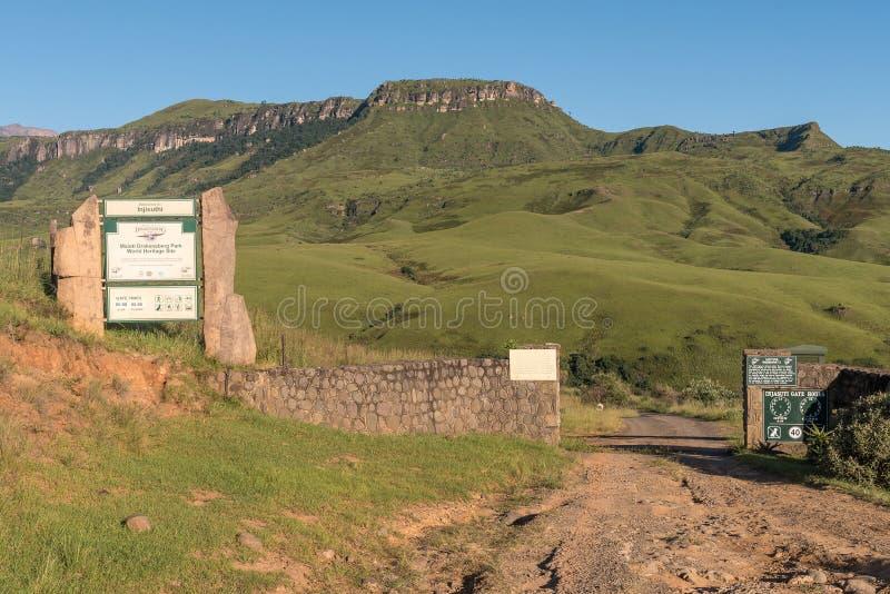 Eingang zu Injisuthi im Giants-Schlossabschnitt, Maloti Drakensbe lizenzfreies stockfoto