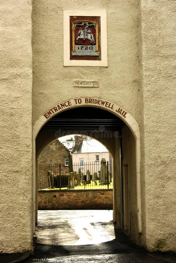 Eingang zum alten Gefängnis bei Jedburgh, Schottland stockfotografie