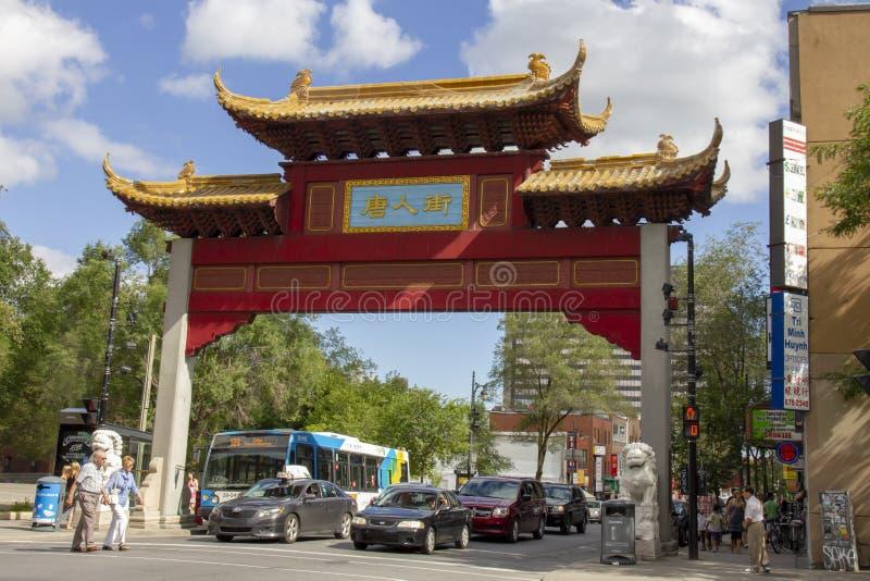 Eingang zum Chinatown in Montreal lizenzfreie stockbilder