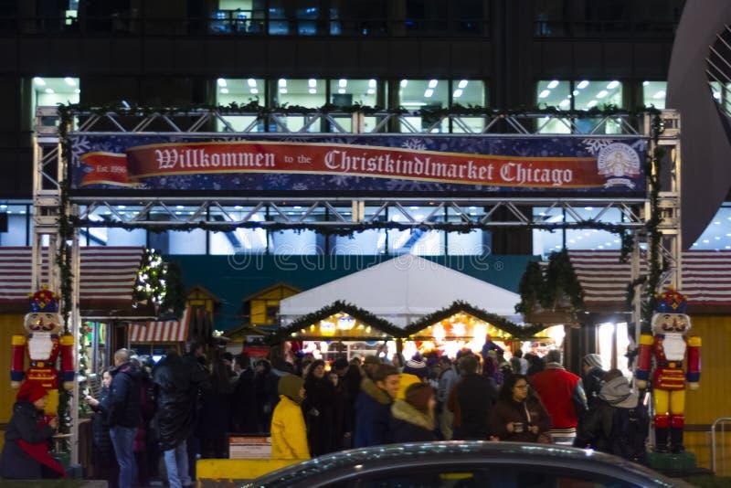 Eingang zum Christkindlmarket in Chicago Illinois lizenzfreies stockbild