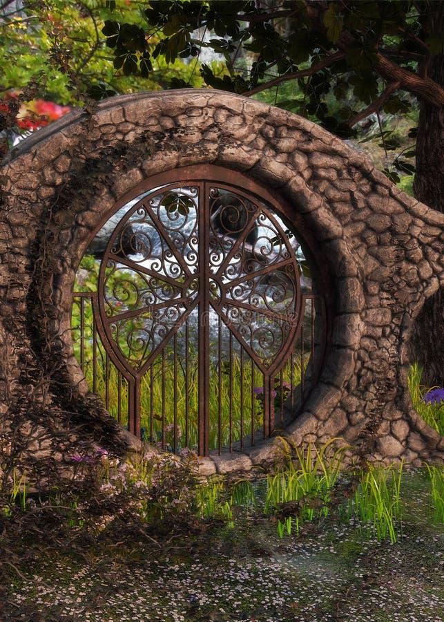 Eingang zum geheimen Garten stock abbildung