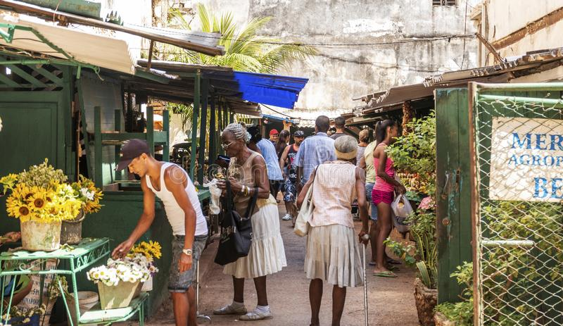 Eingang zum Nahrungsmittelmarkt in Havana Cuba lizenzfreie stockfotos