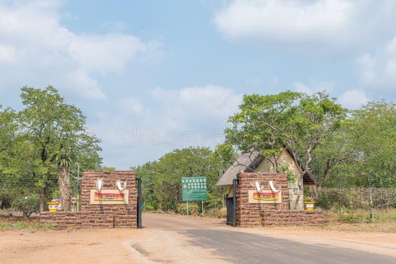 Eingang zum Olifants-Rest-Lager lizenzfreie stockfotografie