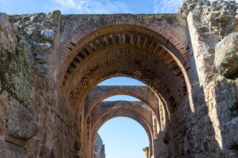 Eingang zum römischen Kolosseum in Mérida (Spanien stockfotografie