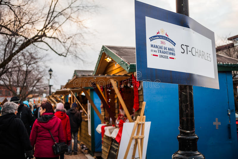 Eingangs-Zeichen des stattfindenen Longueuil-Weihnachtsmarktes stockbilder