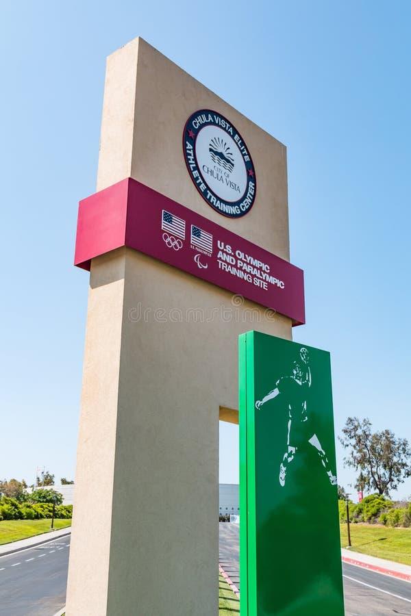Eingangs-Zeichen für Chula- Vistaschulungszentrum für olympische Athleten lizenzfreie stockfotografie