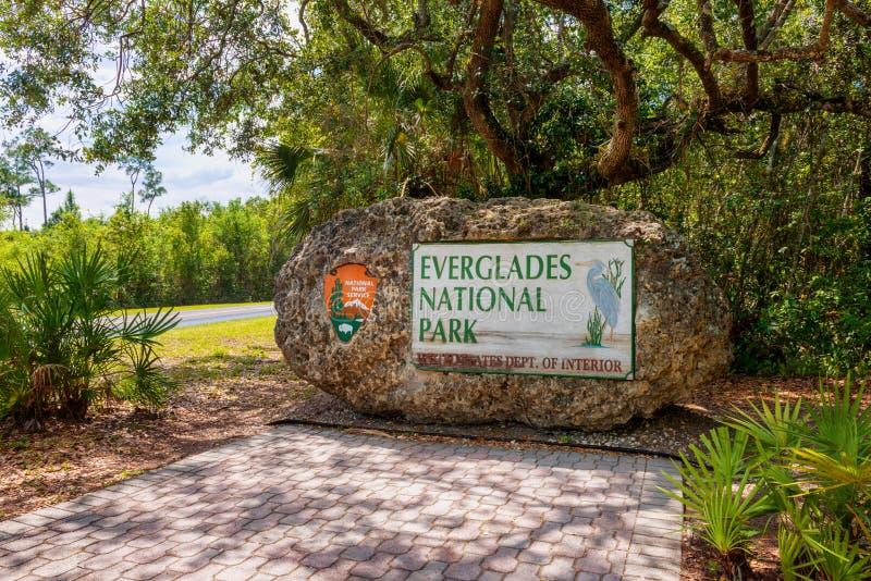 Eingangszeichen zum Everglades-Nationalpark Florida USA stockfotografie