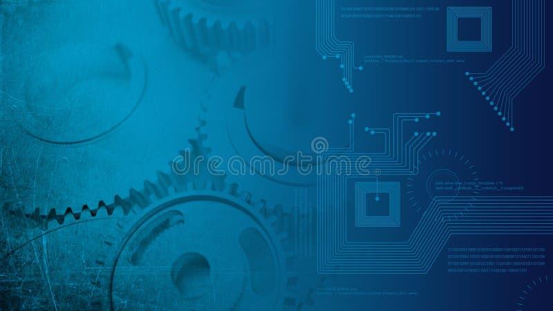 Eingebeulte industrielle Zähne der Stahlgänge des Schmutzes glatten, die zu den technologic Digitalschaltungen transitioning sind stockbilder