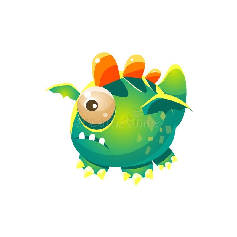 Eingebildete Monster-Sammlung grünes fantastisches freundliches Haustier-Dragon With One Eye Fantasys vektor abbildung