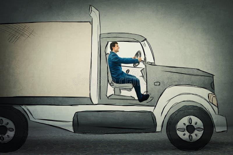 Eingebildetes Lastwagenfahren lizenzfreie stockfotos