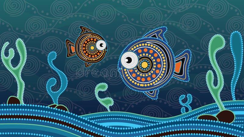 Eingeborene Punktkunstmalerei mit Fischen Unterwasserkonzept, Landschaftshintergrund-Tapetenvektor lizenzfreie abbildung