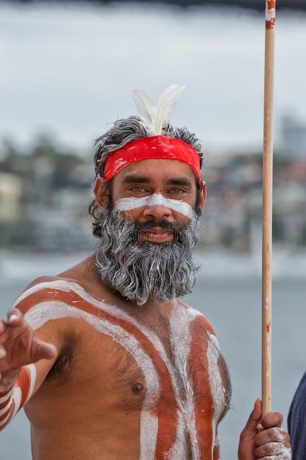 Eingeborener australischer Mann in Sydney lizenzfreies stockfoto