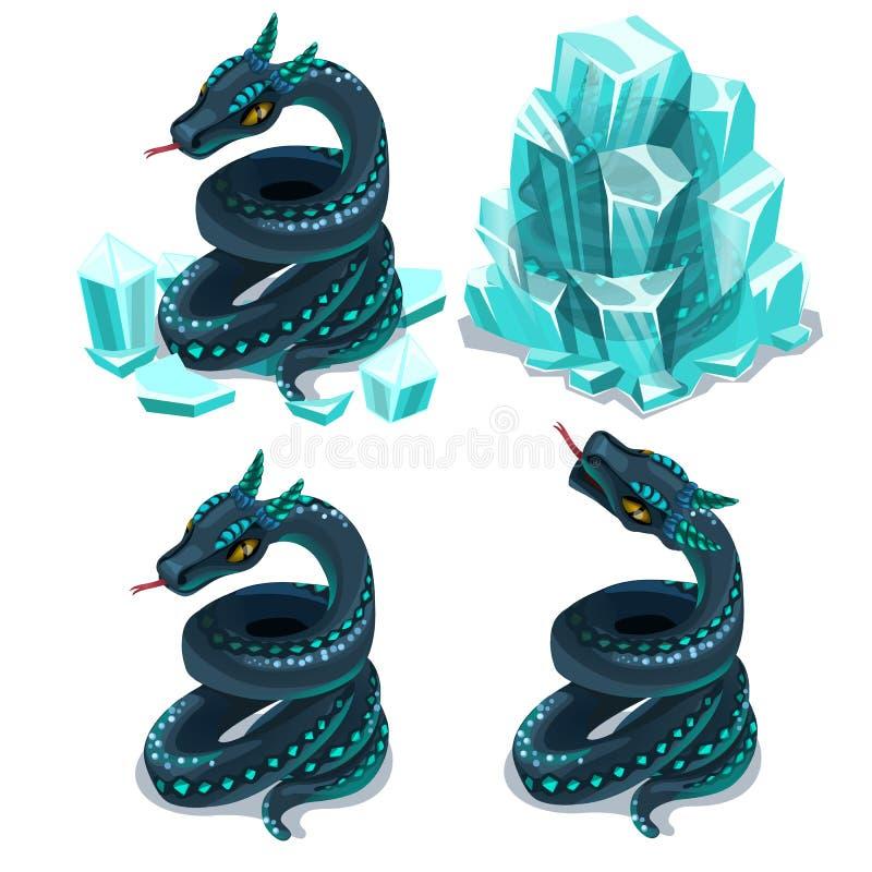 Eingefroren im Eis und in aufgetauter Schlange, vector vier Bilder vektor abbildung