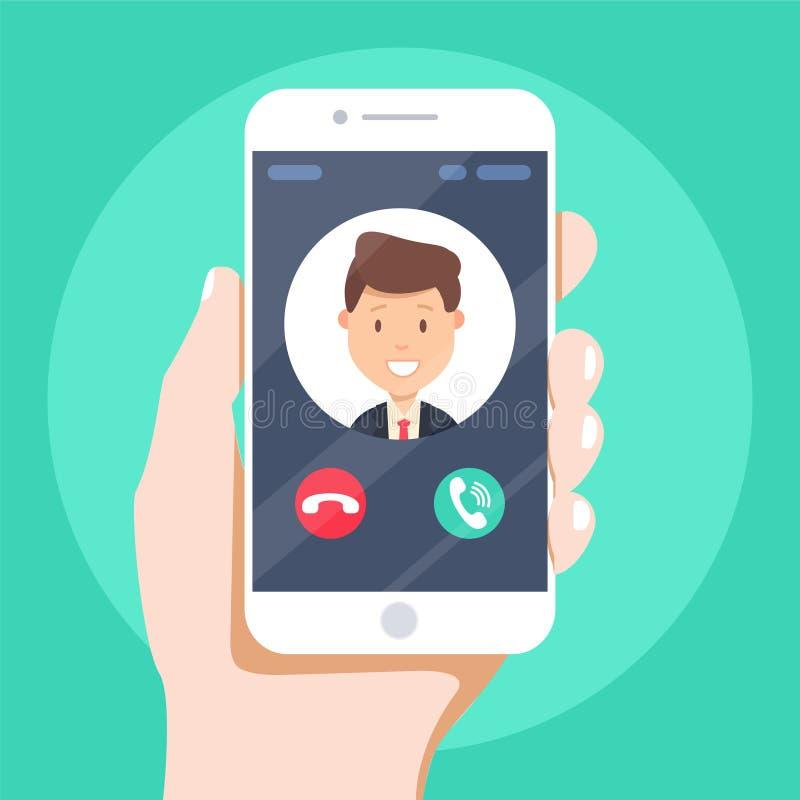 Eingehender Anruf auf Smartphoneschirm Flache Designvektorillustration stock abbildung
