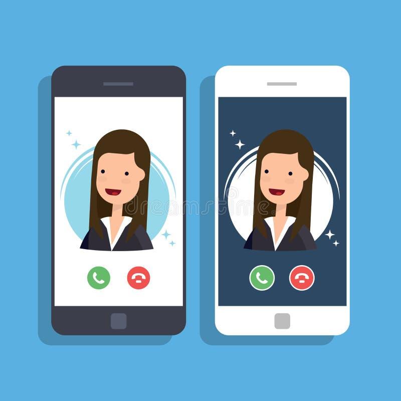 Eingehender Anruf am Handy Geschäftsfrau- oder Manageranrufe lizenzfreie abbildung