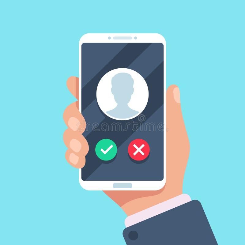 Eingehender Anruf am Handy Um Smartphone mit Anruferavatara ersuchend, ruft Kontaktfoto auf dem Klingeln Schirmvektor an lizenzfreie abbildung