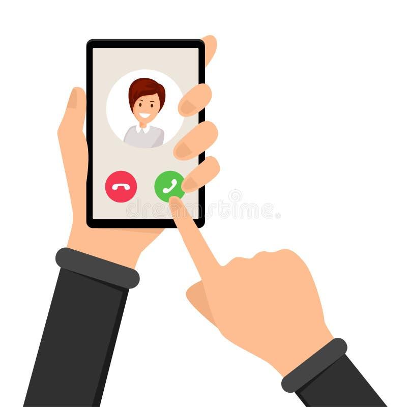 Eingehender Anruf, Klingelntelefonvektorillustration lizenzfreie abbildung