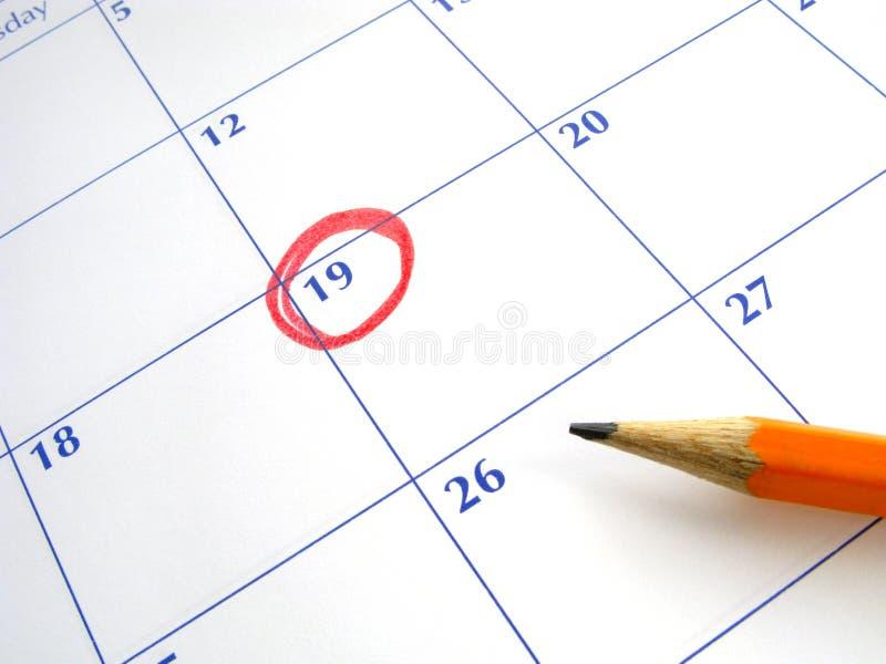 Eingekreistes Datum an einem Kalender. lizenzfreie stockfotos