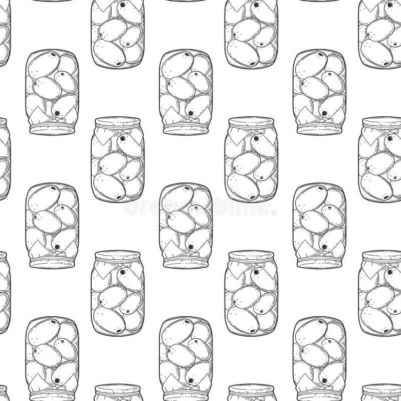Eingemachte Tomatenkonserve Vektorkonzept in der Gekritzel- und Skizzenart Handgezogene Illustration für den Druck auf T-Shirts,  stock abbildung