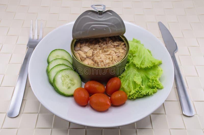 Eingemachter Thunfisch gedient auf Teller mit Salat lizenzfreie stockfotos