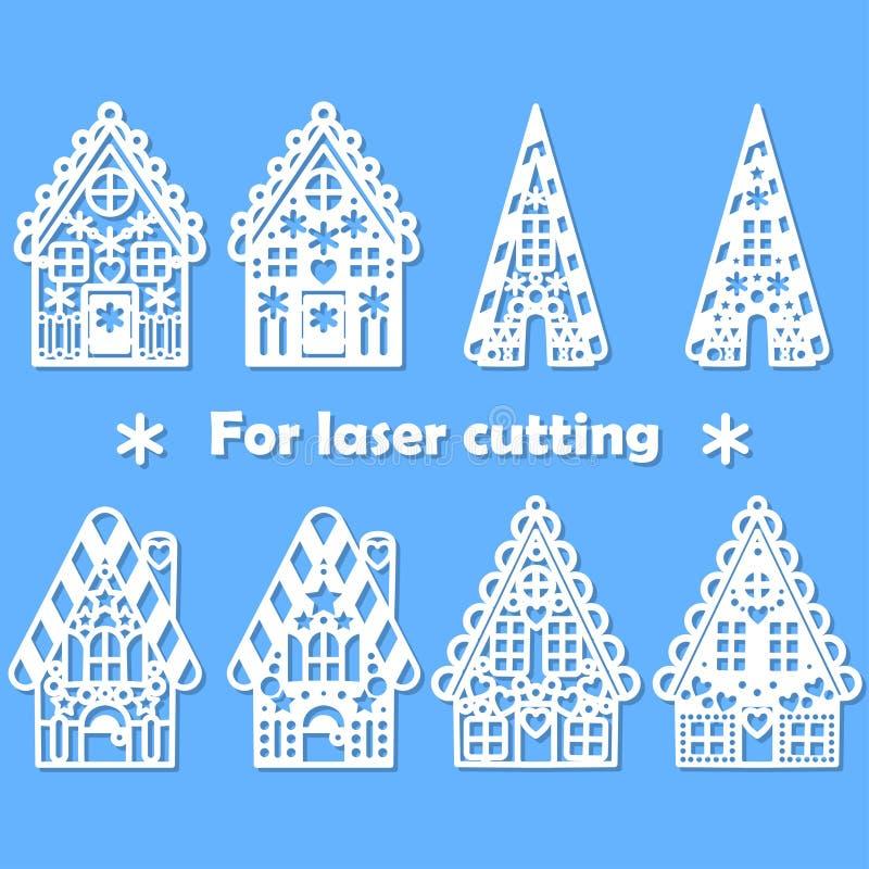 Eingestellt für Laserschnitt irgendwelcher Materialien Lebkuchenhaus in der Papierart Vektor stock abbildung